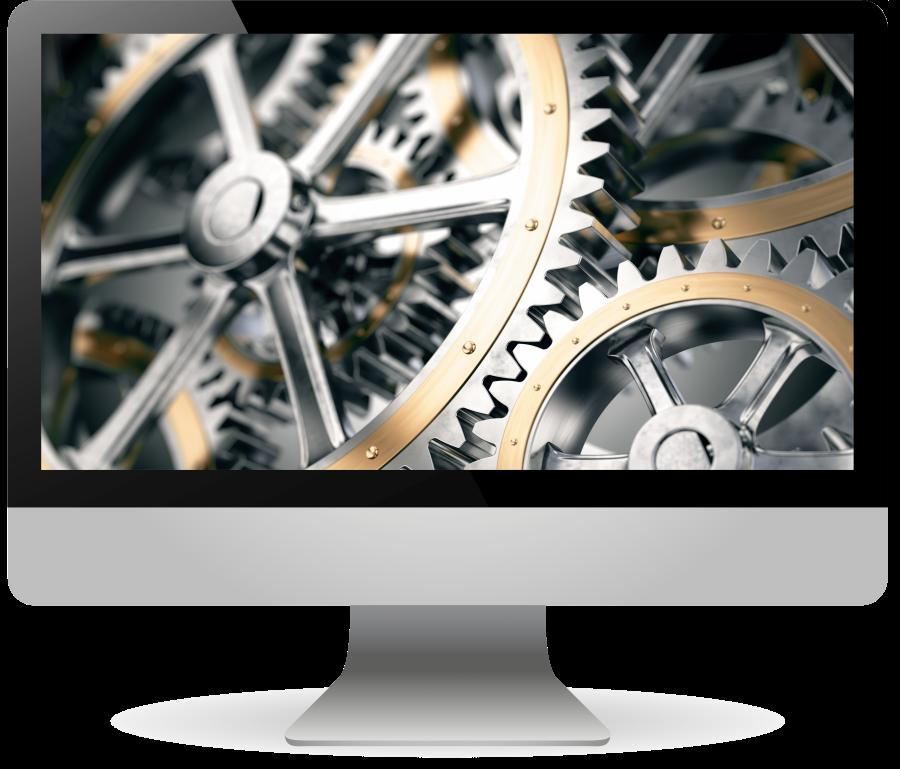 iMac mit Zahnrädern als Bildschirmhintergrund